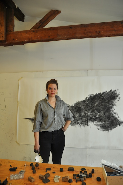 Katie in her studio during a residency at the Lunenburg School for the Arts, 2015 (photo: Susan Hudson)