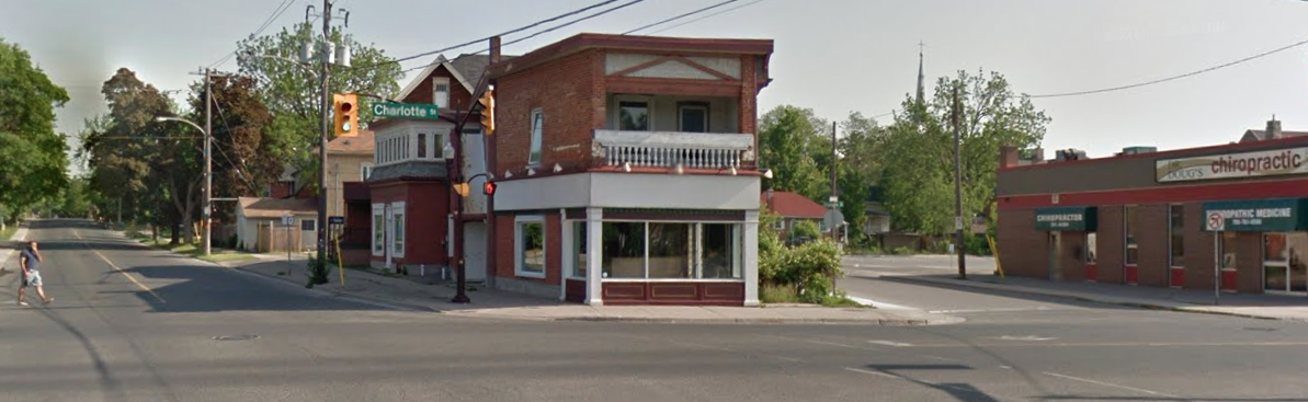 The site of Parkway Variety at the corner of Park and Charlotte Streets in Peterborough, Ontario. Since Parkway closed in the early 90s, it has been the home of a winemaking shop and now a nice little brunch spot called BE Catering. Compare this shot with the one that graces the homepage of my blog and it's depressing to see the dearth of greenery today compared with the 1930s.