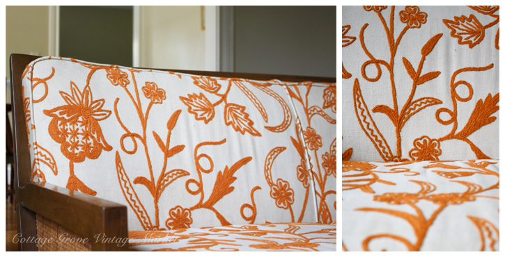 How fun is this orange crewel sofa? This might be my favorite find of all.
