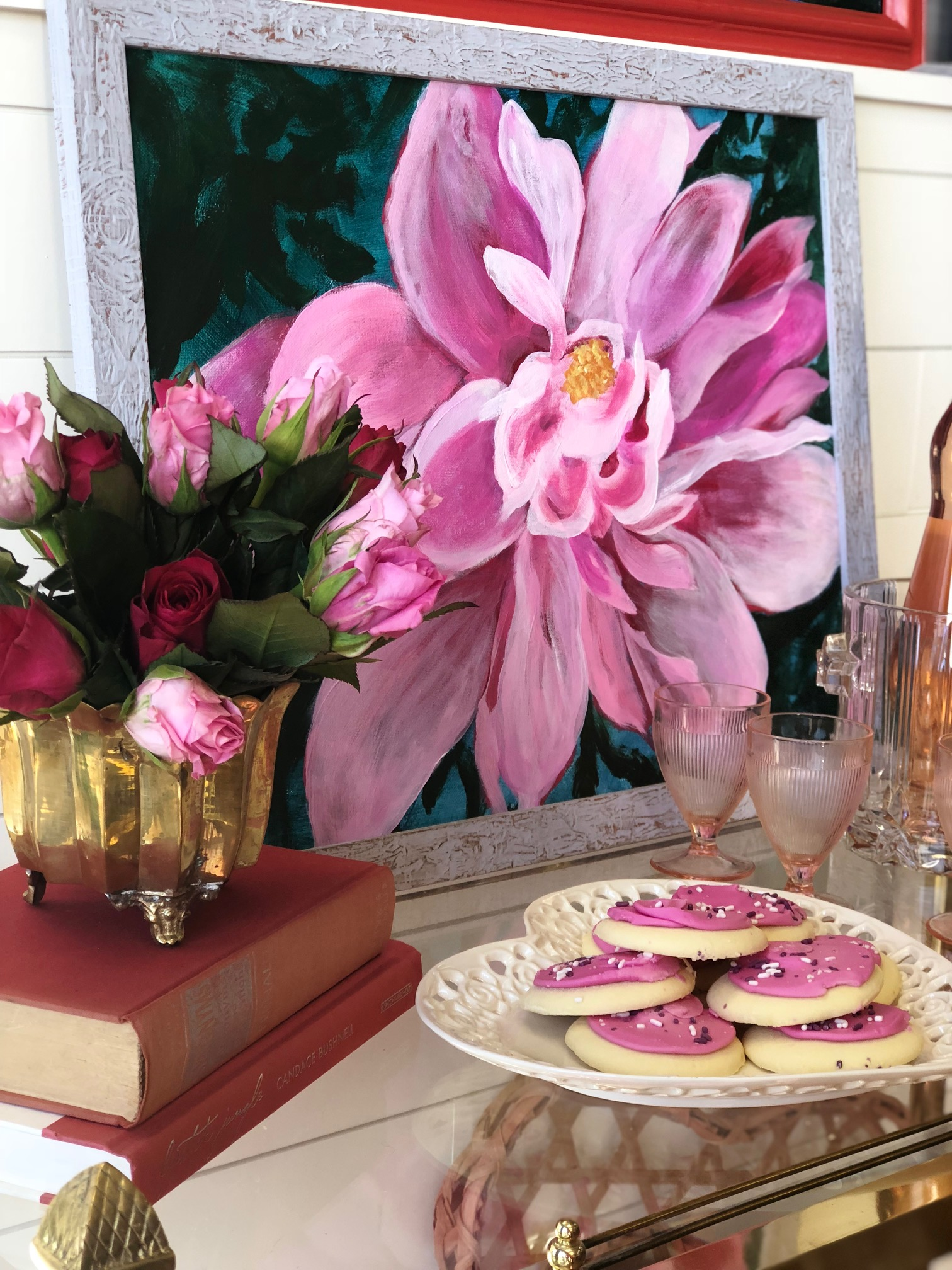 If roses aren't your style, the shades of pink in this original magnolia artwork continue the theme of vivid bright shades.