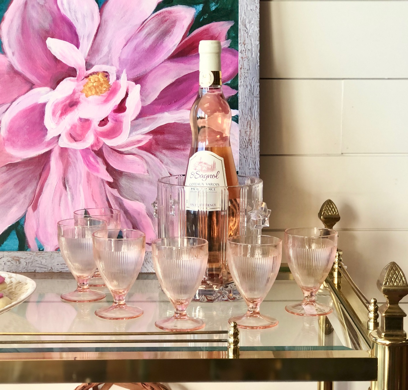 Use the crystal ice bucket to keep your rose wine perfectly chilled and why not continue the blush tones by pouring in miniature wine glasses in coordinating hues?