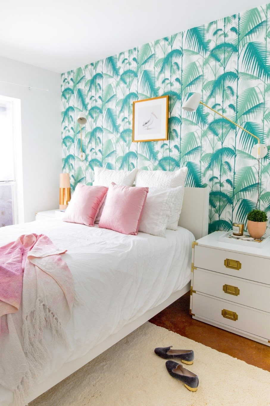 Photo Source:  Wayfair   The single bright wall offers a happy greeting upon entering this tropical retreat.