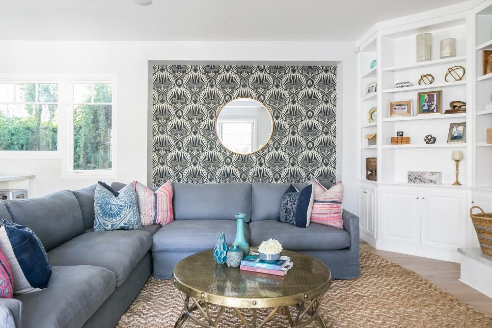 Photo Source:  HGTV   This accent wall acts as a large piece of art in such a space; attention getting to draw you closer with intrigue without dominating the entire room.