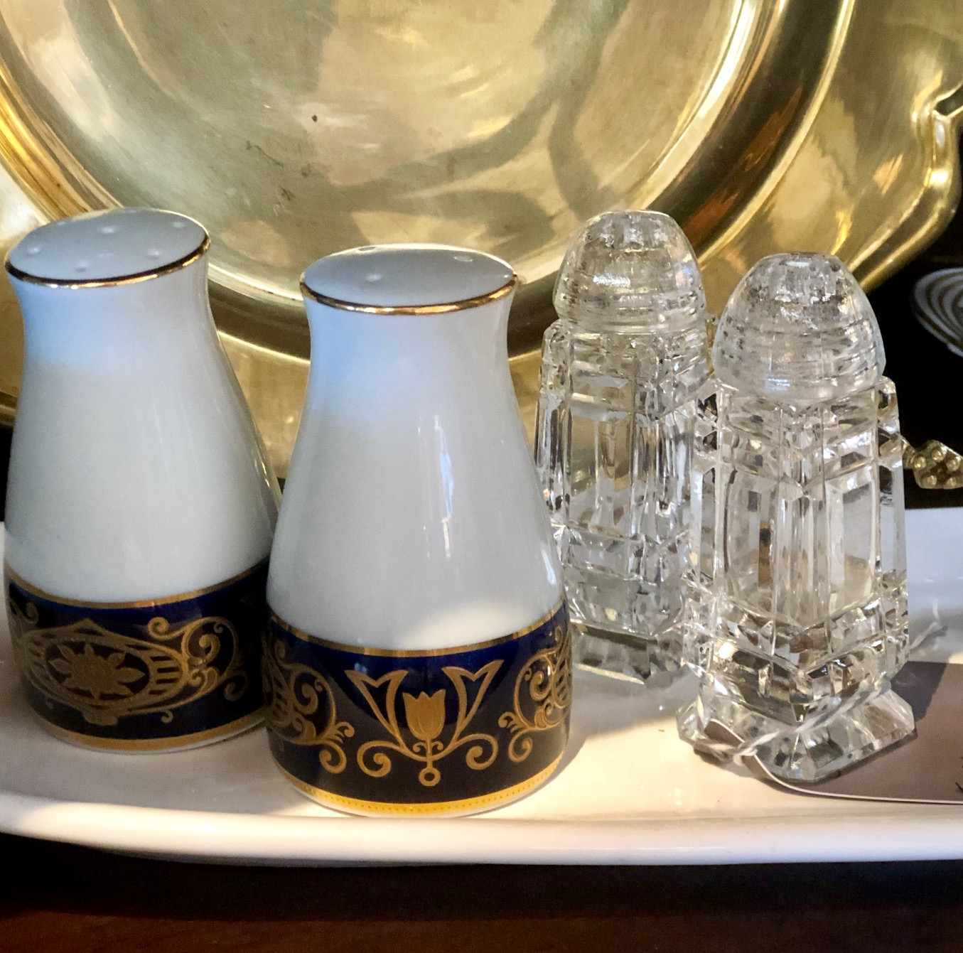 If you're hosting a crowd, you'll be grateful for salt and pepper shakers at either end of the table or on multiple tables.   Upstated Vintage