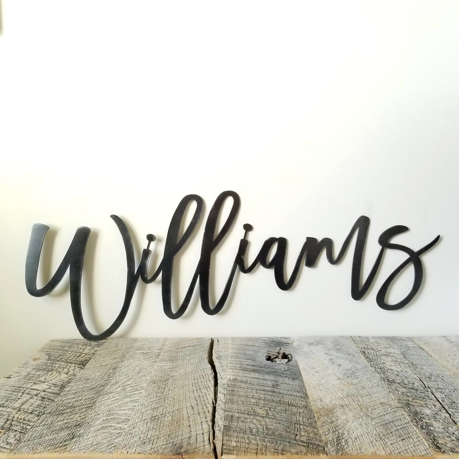 Family Home Decor Your Custom Text Custom Metal Cursive Word Free Shipping Business Decor Personalized Last Name Wall Sign