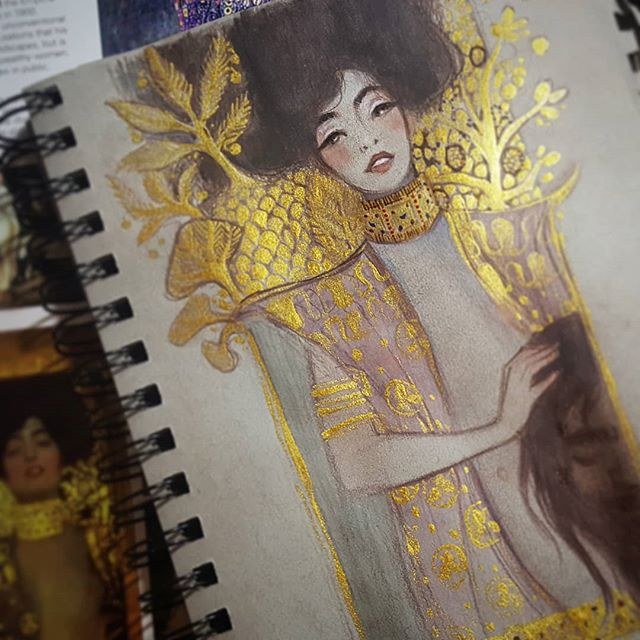 Had to do a #gustavklimt inspired #sketchpainting . . . . . #judithholofernes #judith #goldpaint #artistofinstagram #littlebitgruesome #rebeccastuhff #judithandholofernes #klimt