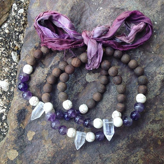 """We are the flowers and trees that ripped through the seeds; fought our way out of darkness to reach for the light.""~ The Art of a Happy Heart * * The ""lotus rise""- amethyst + quartz bracelet was inspired by my poem, ""storytellers"" and it is on my website if you feel moved to read it in full. 😁 * * If you have survived some storms- the inner and outer fires of life and maybe need a little reminder, maybe this one is for you. Made with a frosty quartz point and accented by howlite, amethyst and sandalwood, the quartz represents the light within you, while howlite and amethyst bring calm and inner peace. The sandalwood, with its light, earthy scent, brings emotional balance; allowing you to stay present in the moment. (I have one left that is ready to ship, but I can make more. To purchase this one, just click the link in my bio!) 🙏🏻🥰💚🌰🌸☀️"
