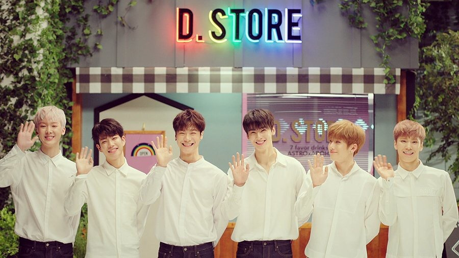 from left to right: Yoon Sanha, MJ, Moonbin, Cha Eunwoo, JinJin, and Rocky. (credit to the Astro Official YouTube Channel)