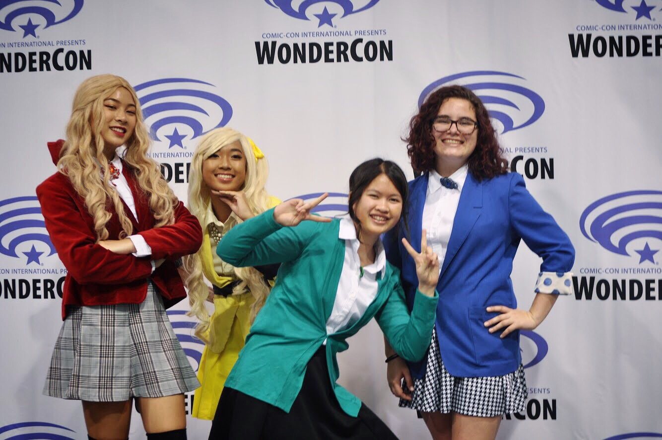 We all had an amazing time at this convention; posing in front of the iconic WonderCon backdrop was so fun! (from left to right: Sydney Ho, Casey Duyan, Jennellee Samkhem, and Abby Lisk)