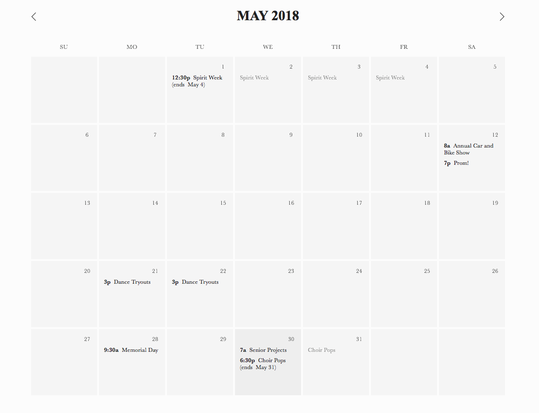 This is our calendar for the month of May!