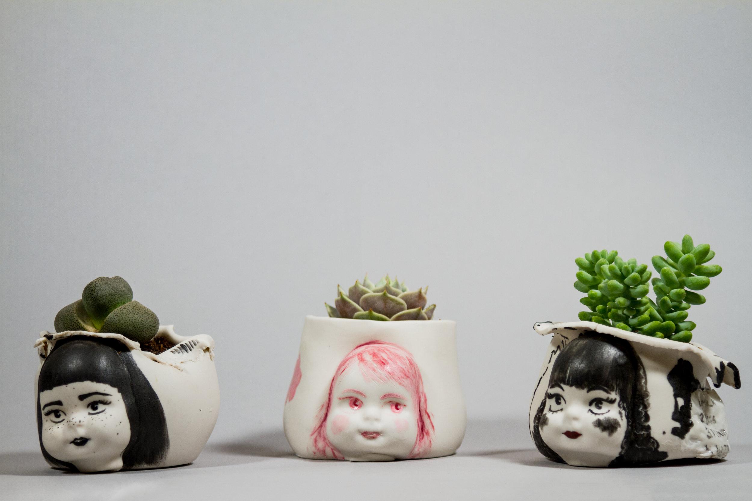 """""""Doll Planters""""    Porcelain, Underglaze, Succulents, 4"""" x 4"""" x 3"""""""