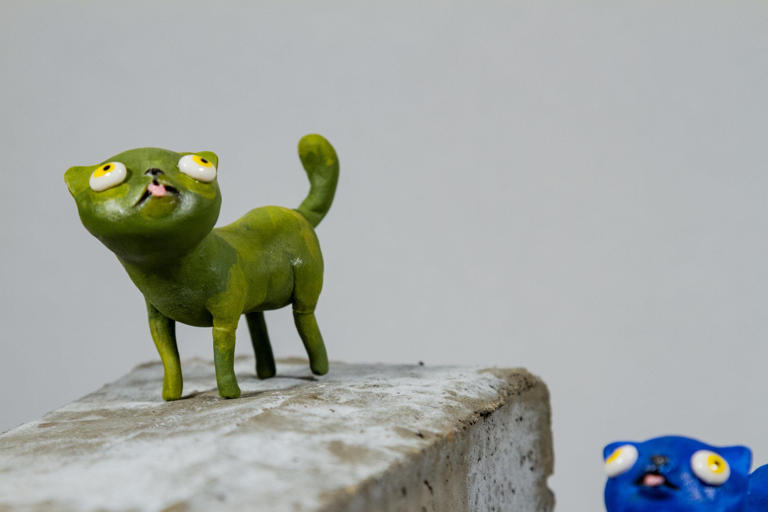 """Cool Cats""    Porcelain, Underglaze, 2.5"" x 1"" x 2"""