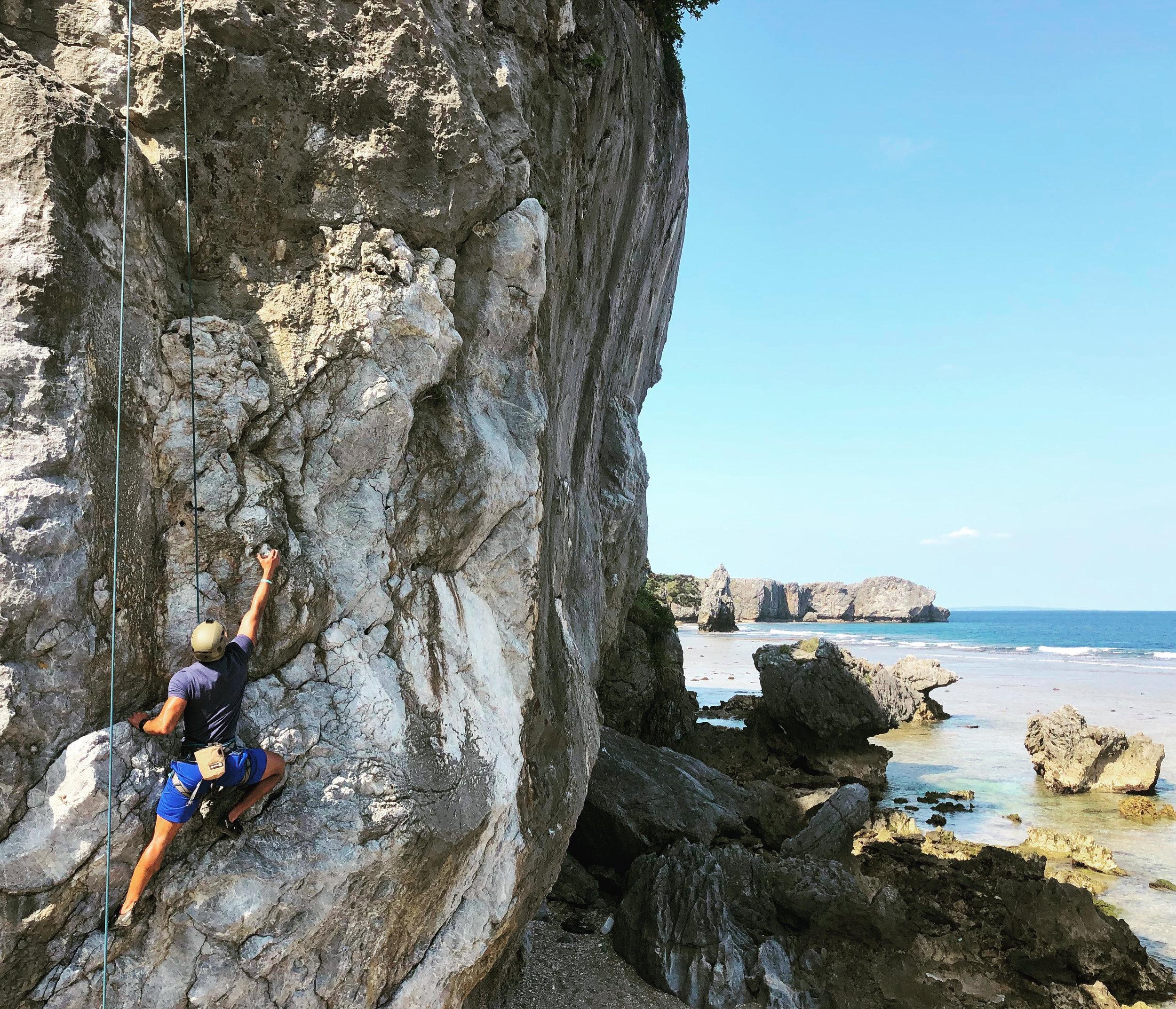 Top-roping at Cape Hedo, Okinawa