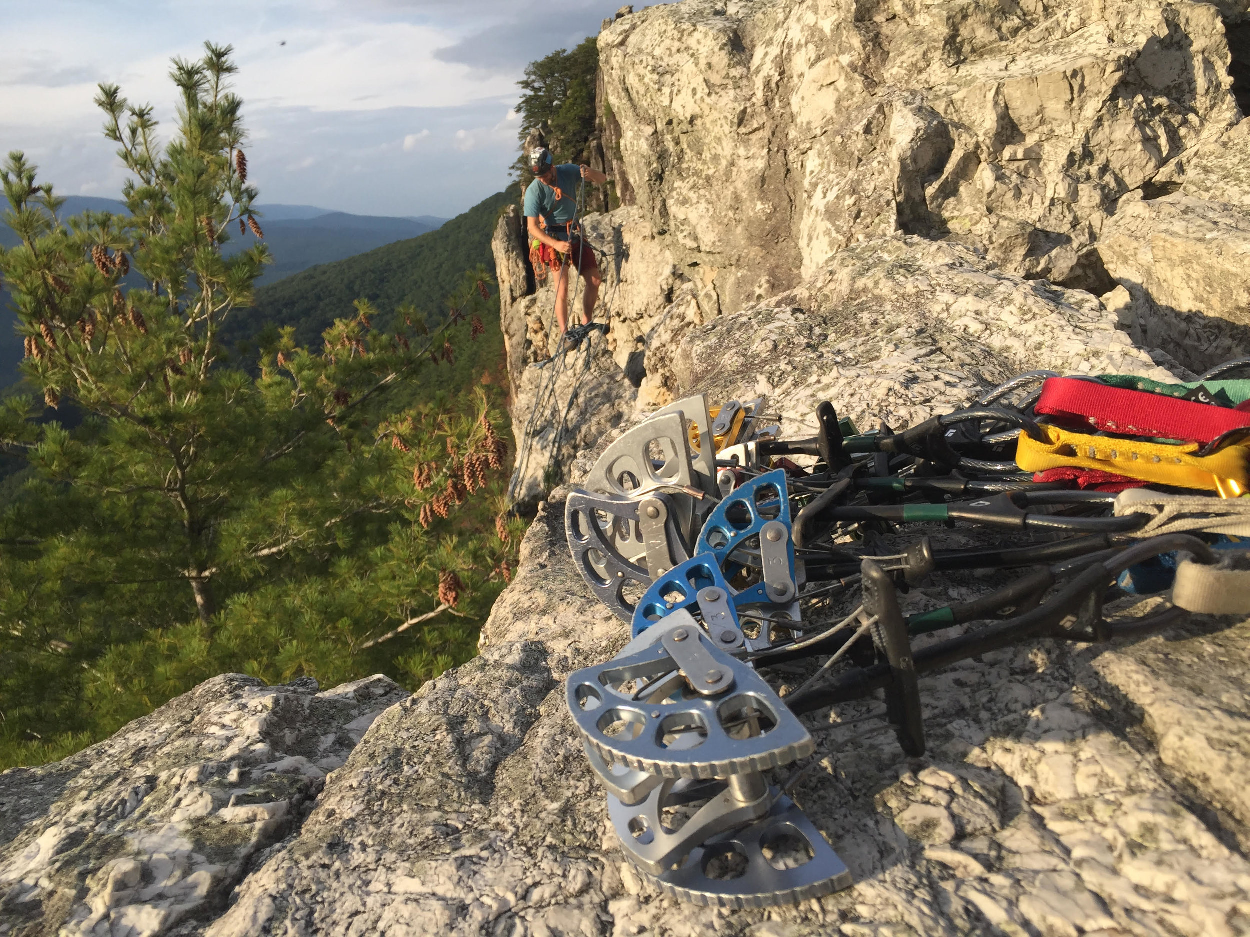Rigging a rappel at Seneca Rocks, WV