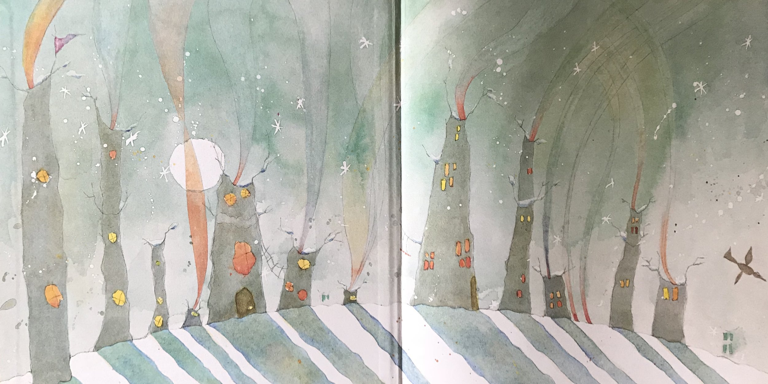 Gaye Chapman's front endpaper to  In the Evening  by Edwina Wyatt (Little Hare 2015)