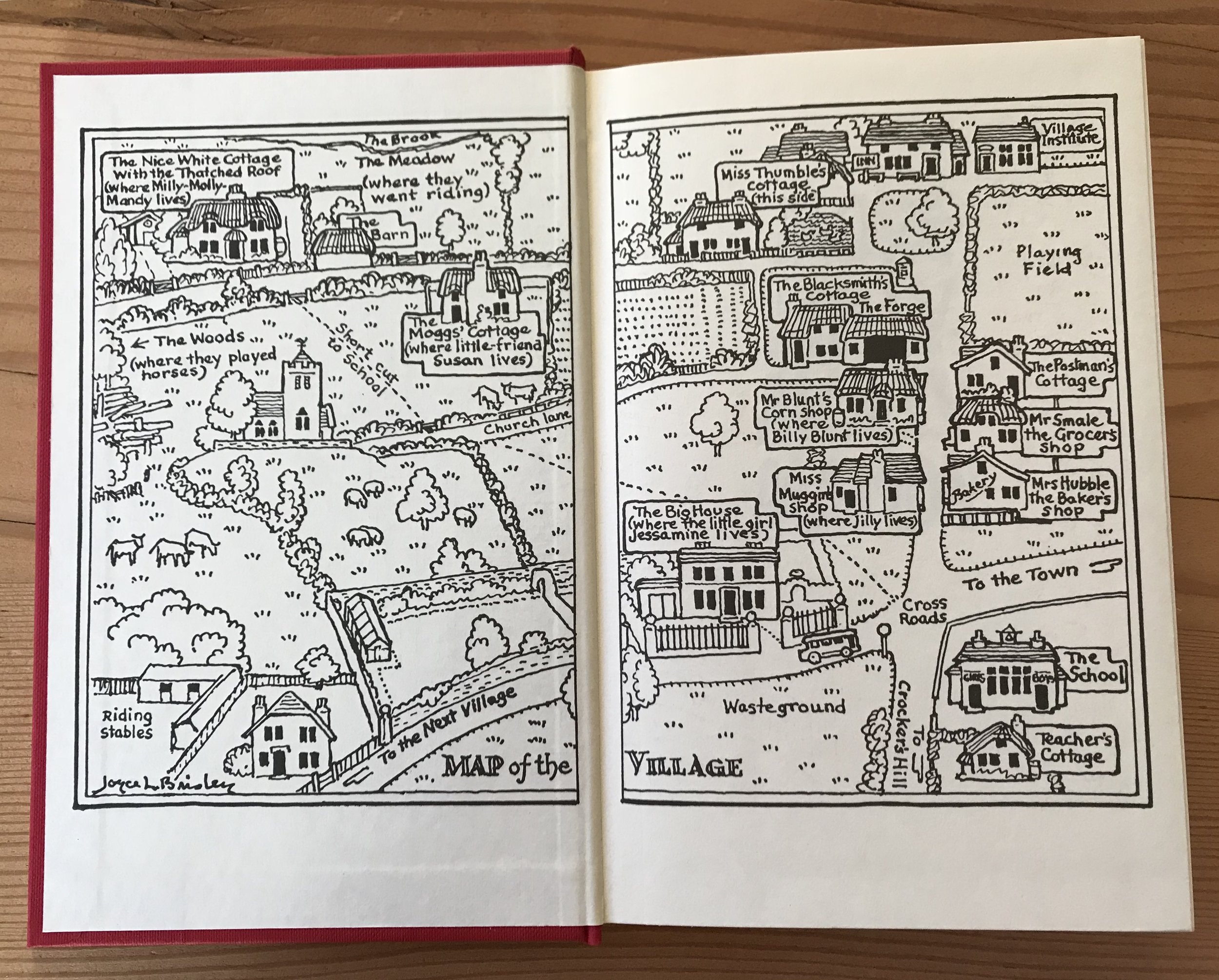 Joyce Lankester Brisley's map of the village in  Milly-Molly-Mandy , used as endpapers in the 1997 Kingfisher edition.