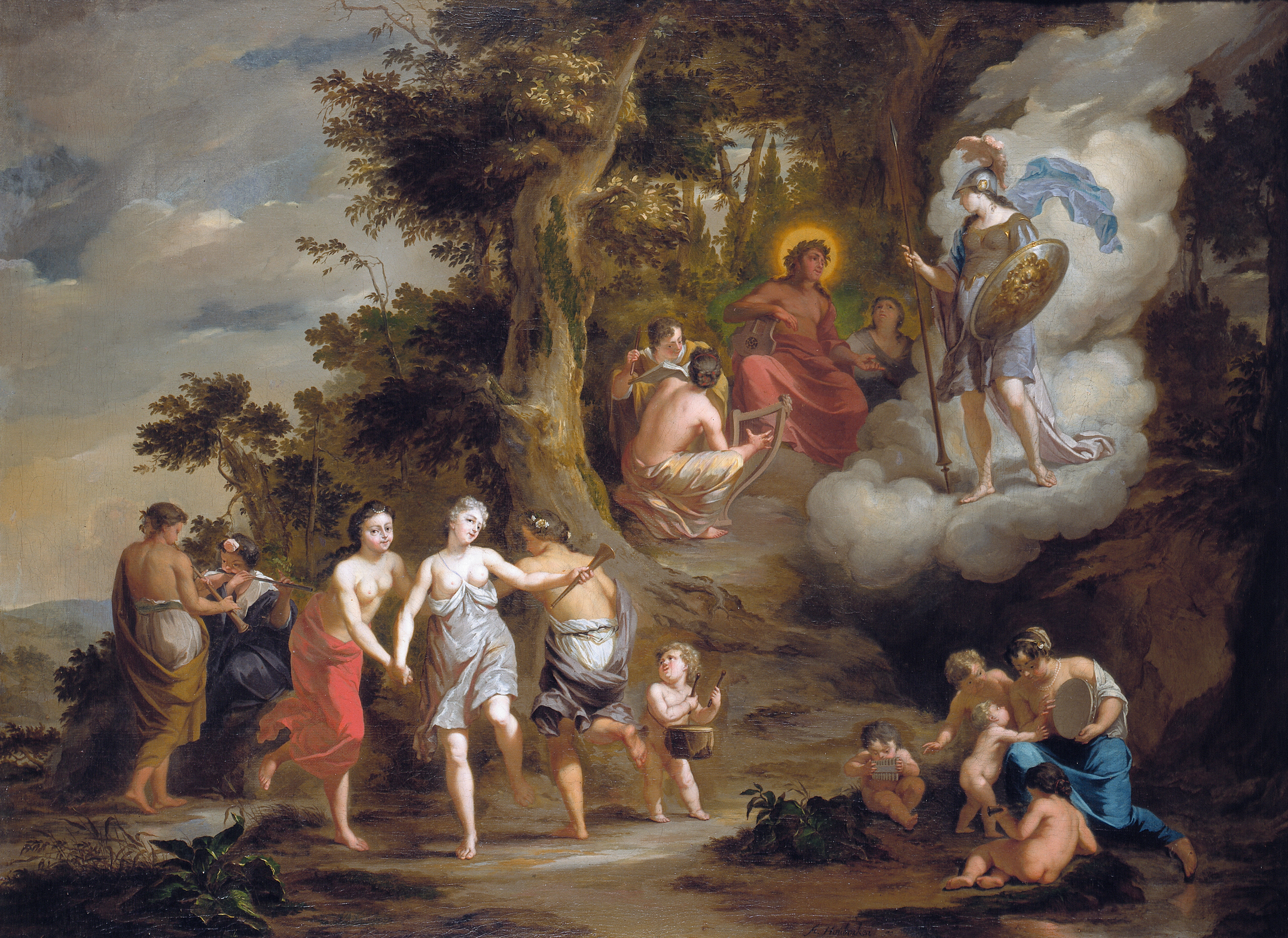 Clouds illustrate the spirit states of divinities of all kinds, to the extent that they bring their clouds with them when journeying to lower realms. Here Athena suggests to us her recent arrival from Mount Olympus when visiting Apollo, by trailing a cloud of glory.Arnold Houbraken  Pallas Athene Visiting Apollo on the Parnas