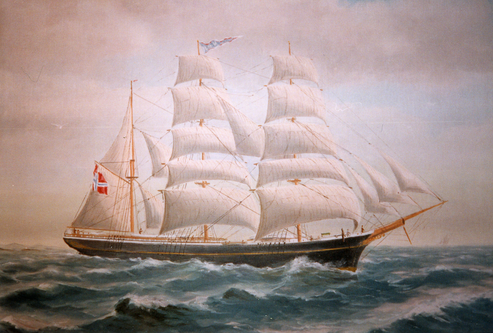 "Barkskipet ""Ilma"", 1870. Det første skipet som ble bygget ved Bratteklev skipsverft."