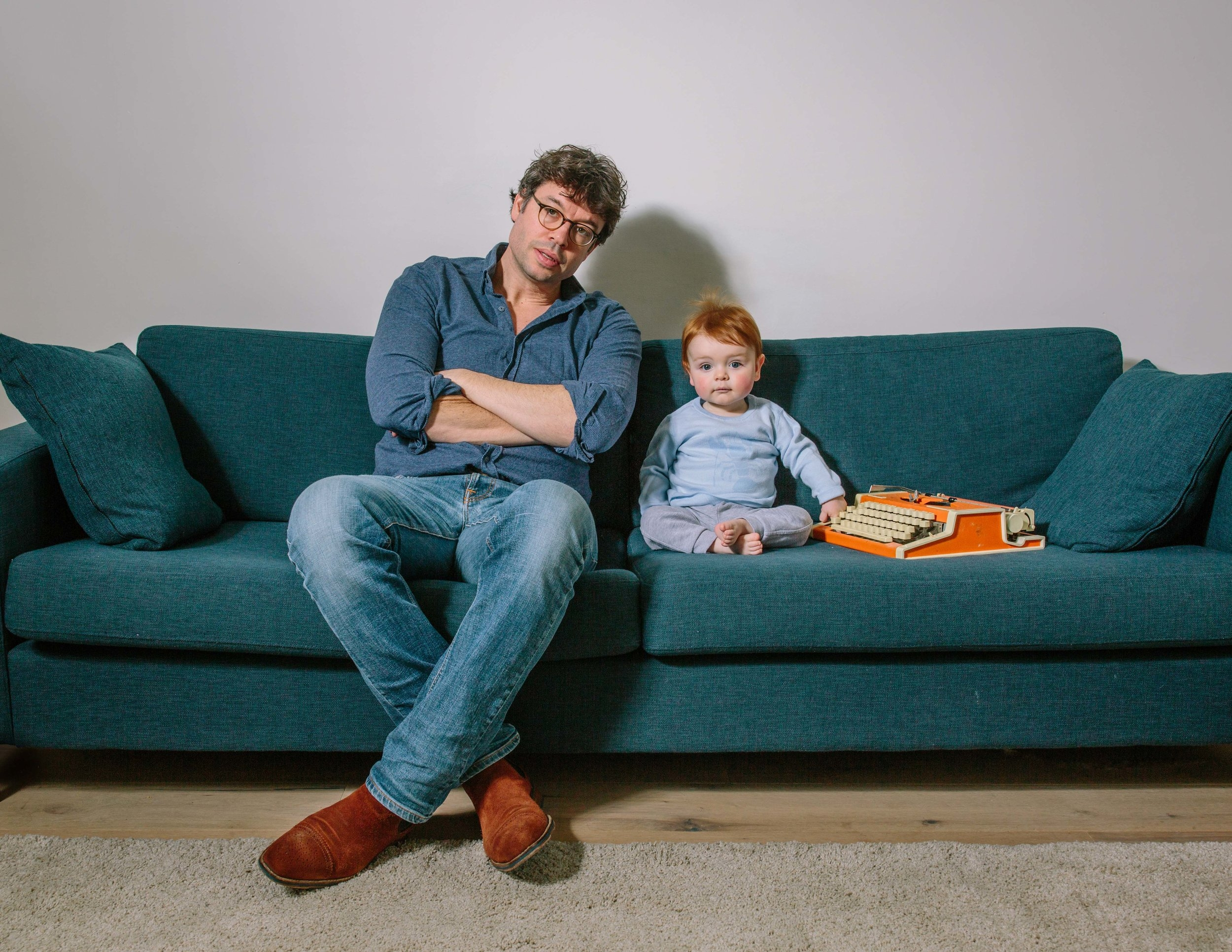 Playwright Nathan Vecht and his son Sal