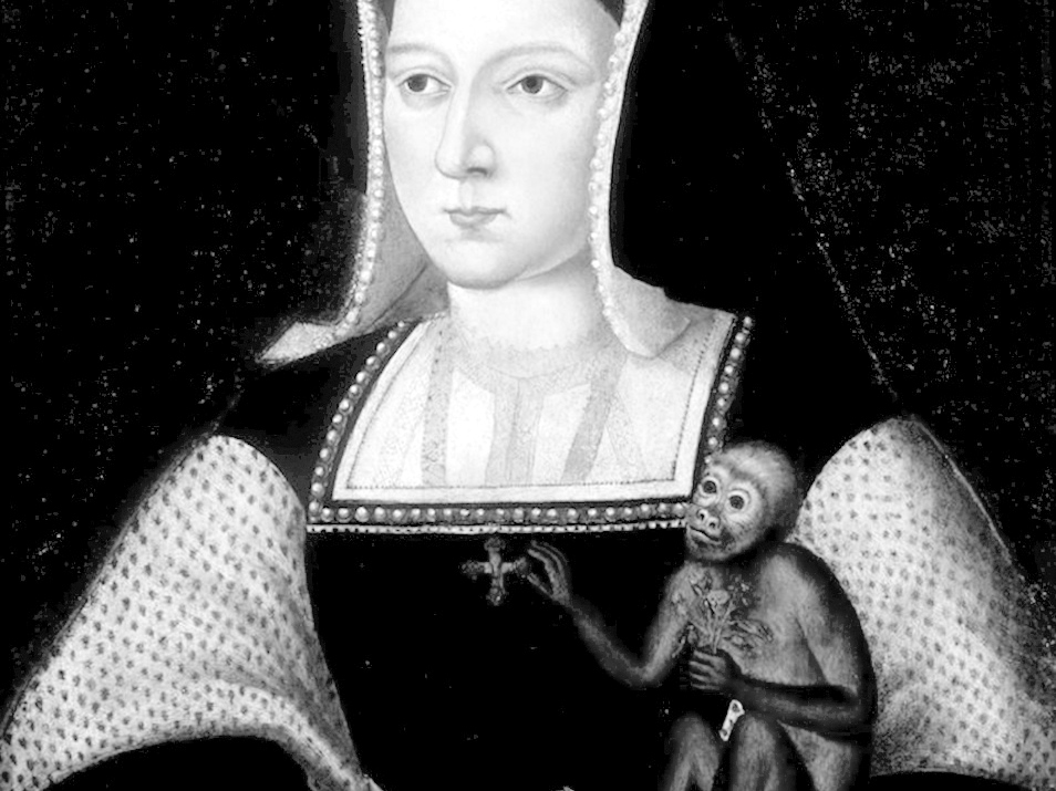 Catherine of Aragon with a monkey, c1525, by Lucas Horenbout