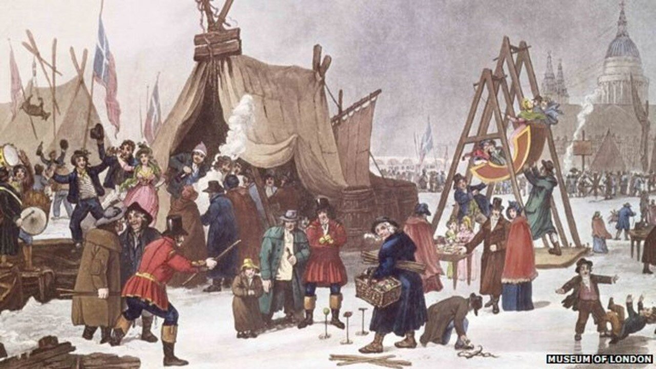 Frost Fair on the River Thames in 1814 by artist Luke Clennell in the  Museum of London
