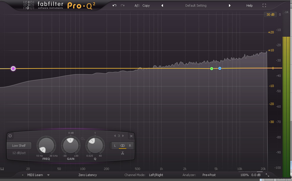 Image 1 - Pink Noise in Fabfilter Pro-Q2. This is what pink noise looks like, notice its pretty even across all frequencies (for the most part). Take a listen below.