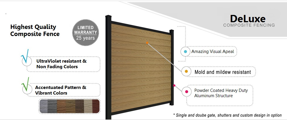 The DELUXE is our premium range of composite fencing. Each composite boards are protected by a 1.5mm shell. It includes the largest selection of tropical colors with a beautiful and natural wood grain finish, All this in addition to the qualities of the Economy and Standard versions.
