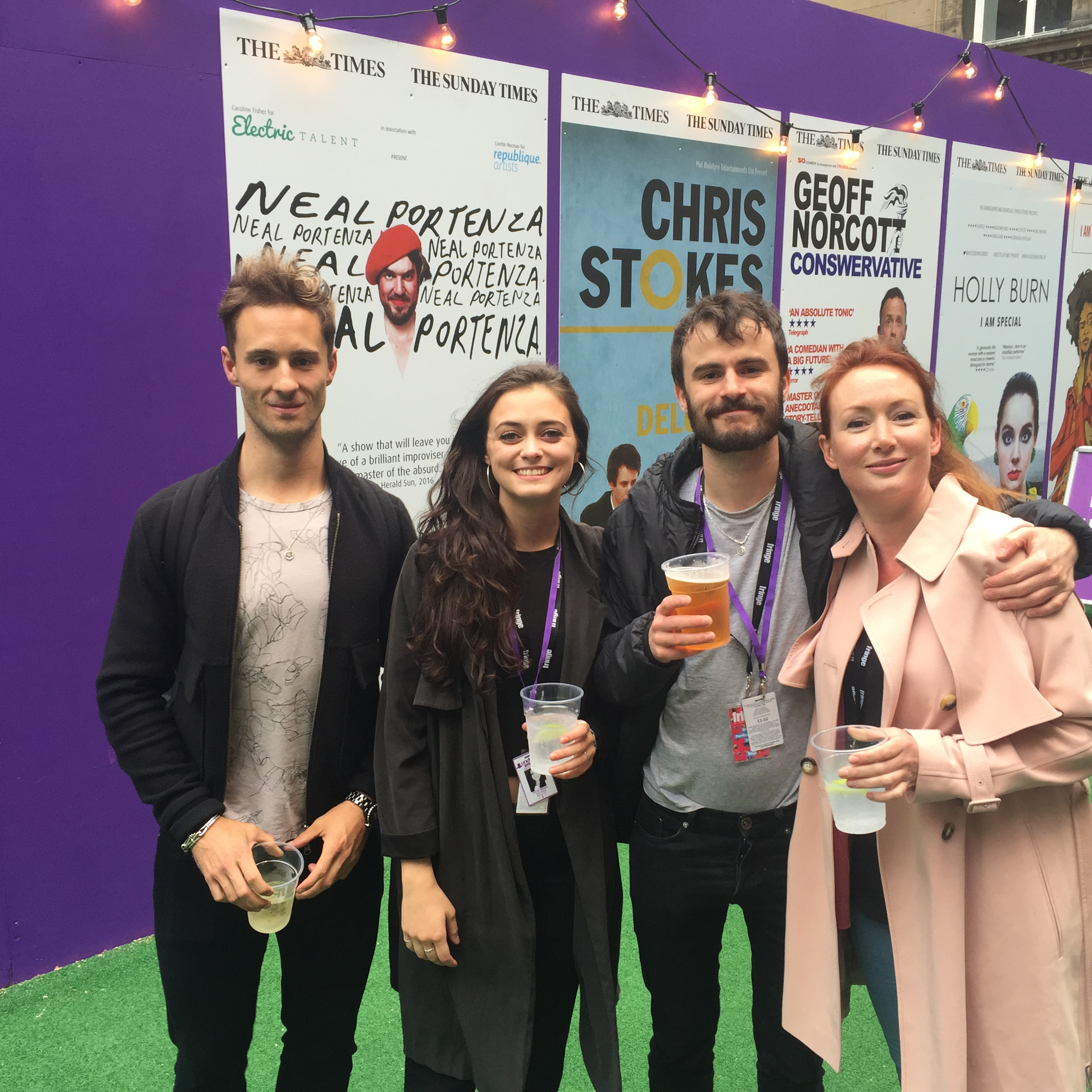 The cast of the d-list at the 2016 edinburgh fringe: samuel curry, syLvie briggs, jonathan mathews and helen rose-hampton.