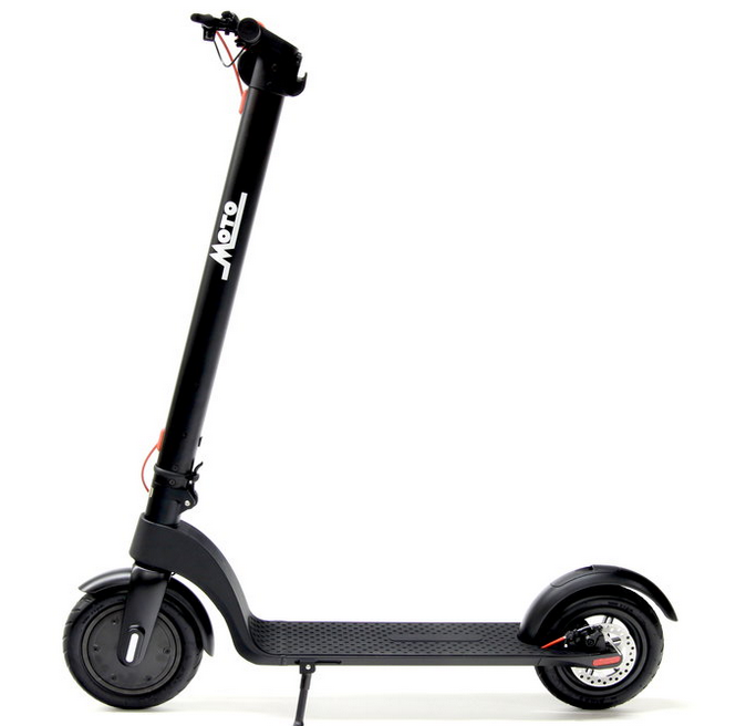 "Kick Scoot - $550Our own brand! Our electric ""kick scoot"" is great for getting around fast. Designed to fold for easy storage or lugging around. Has an easily removable battery that can be swapped out in a second! (extra batteries available!)- Easily removed Lithium Ion battery - 8.5"" air tires for a soft ride- LED Head light and tail light are integrated for safe visibility.- 36V and 350watts of power on the motor.- 12 mile range on a single charge- Folding device lets you fold and carry in 3 seconds.- 18 mph top speed- Regenerative braking in front wheel"