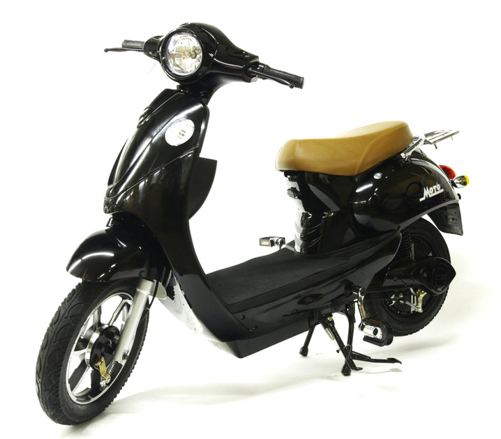 "City Scooter - $1,300.00Our own brand! Our electric ""City Scooter"" is great for commuting quickly and safety. Equipped like a real scooter, our City Scooter has lights, suspension, storage and an alarm system! Check out all the modern upgrades:- 1000 watt motor for a powerful punch off the line.- Top speed: 25 MPH- 20 amp hour battery for long range!- 40 mile range per charge- Alarm system locks the rear wheel during a theft attempt!- Functional pedals optional, if you want them!"