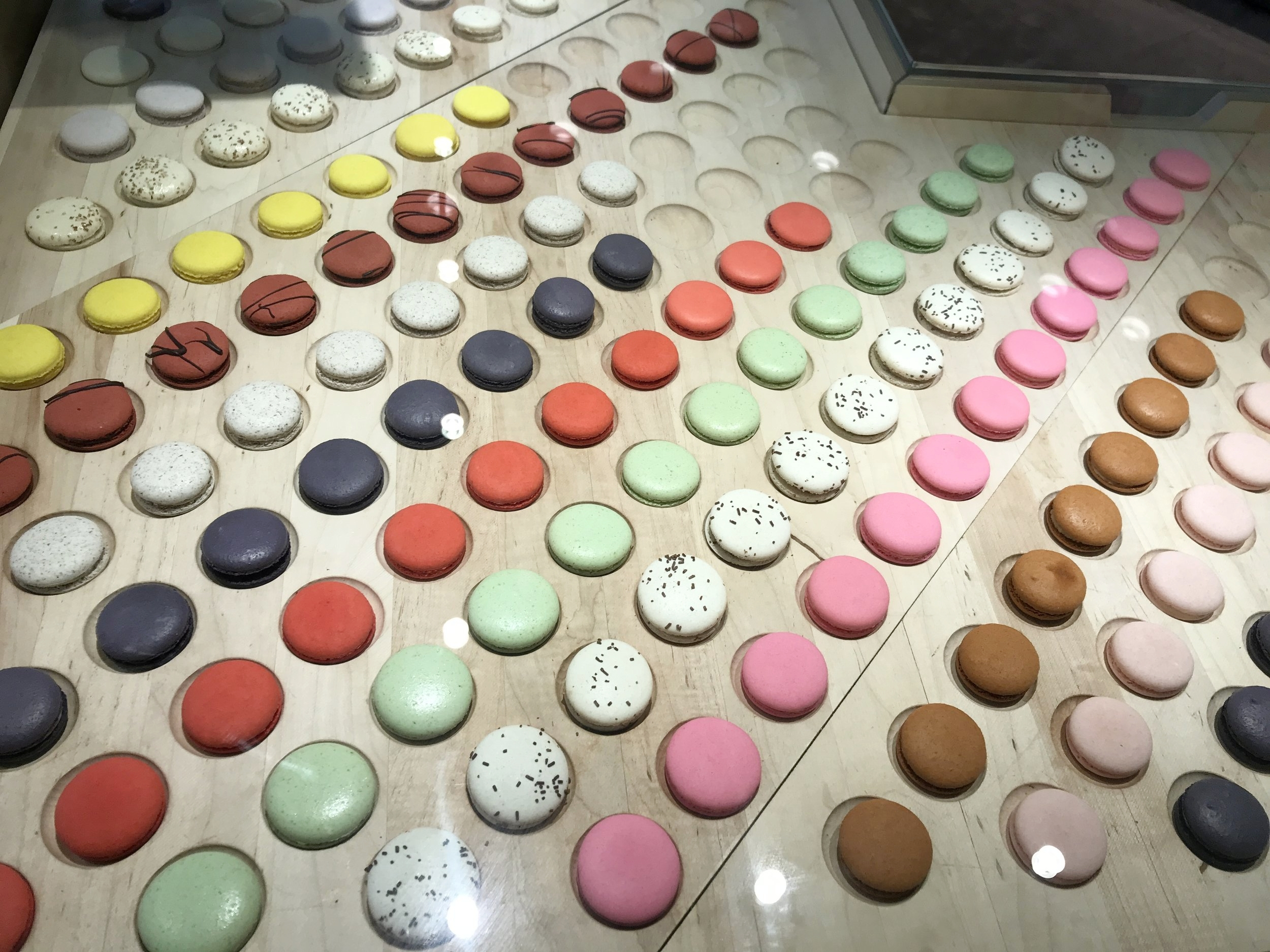 Macarons under the glass case