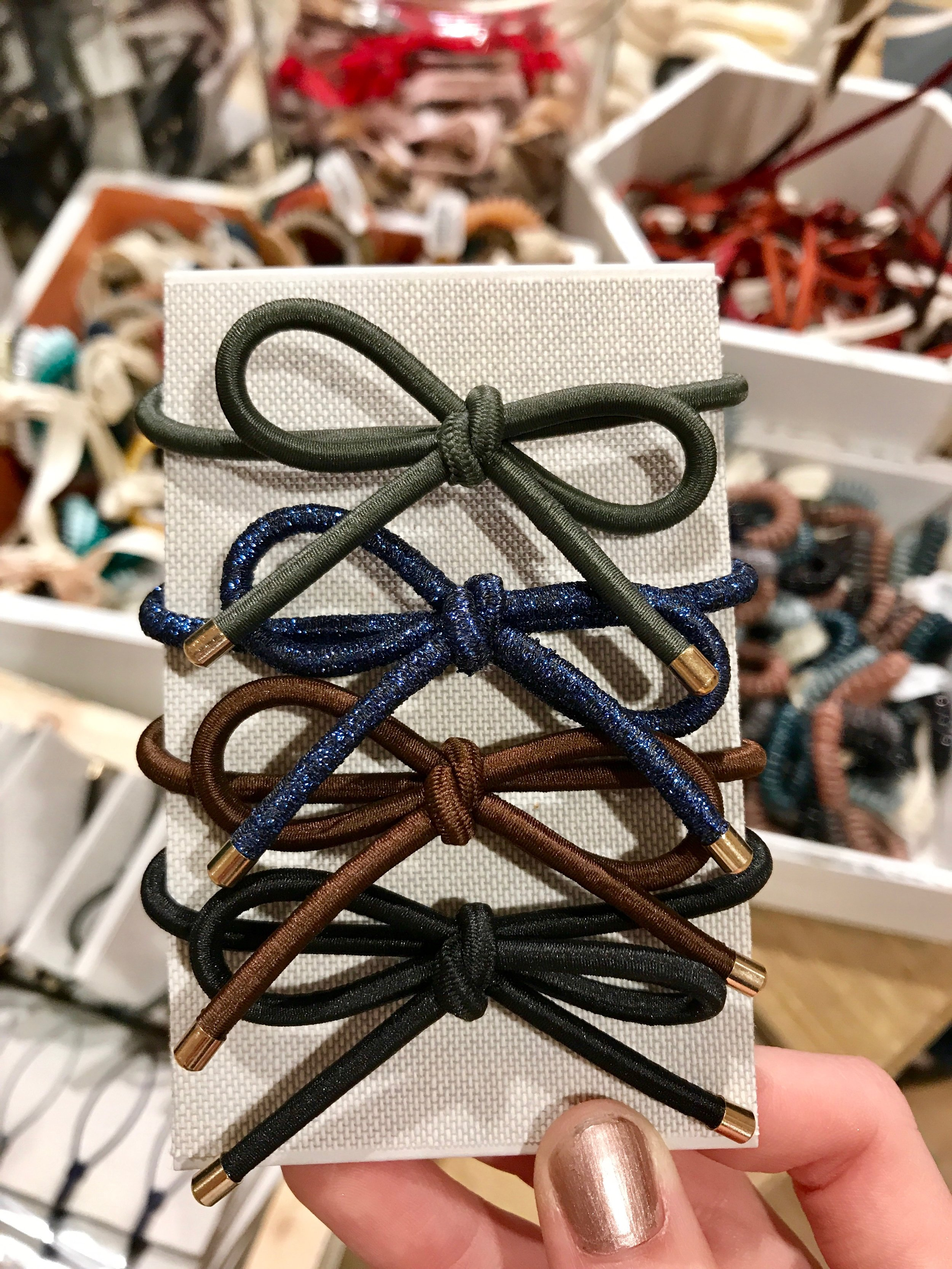 Hair Ties - $12 - Store: AnthropologyWhen I say these in Anthropology I thought they were so cute and I wanted some. Hair ties are a pretty common item that most girls use, but it is always fun to have some pretty ones that don't look weird when you are just wearing them on your wrist.