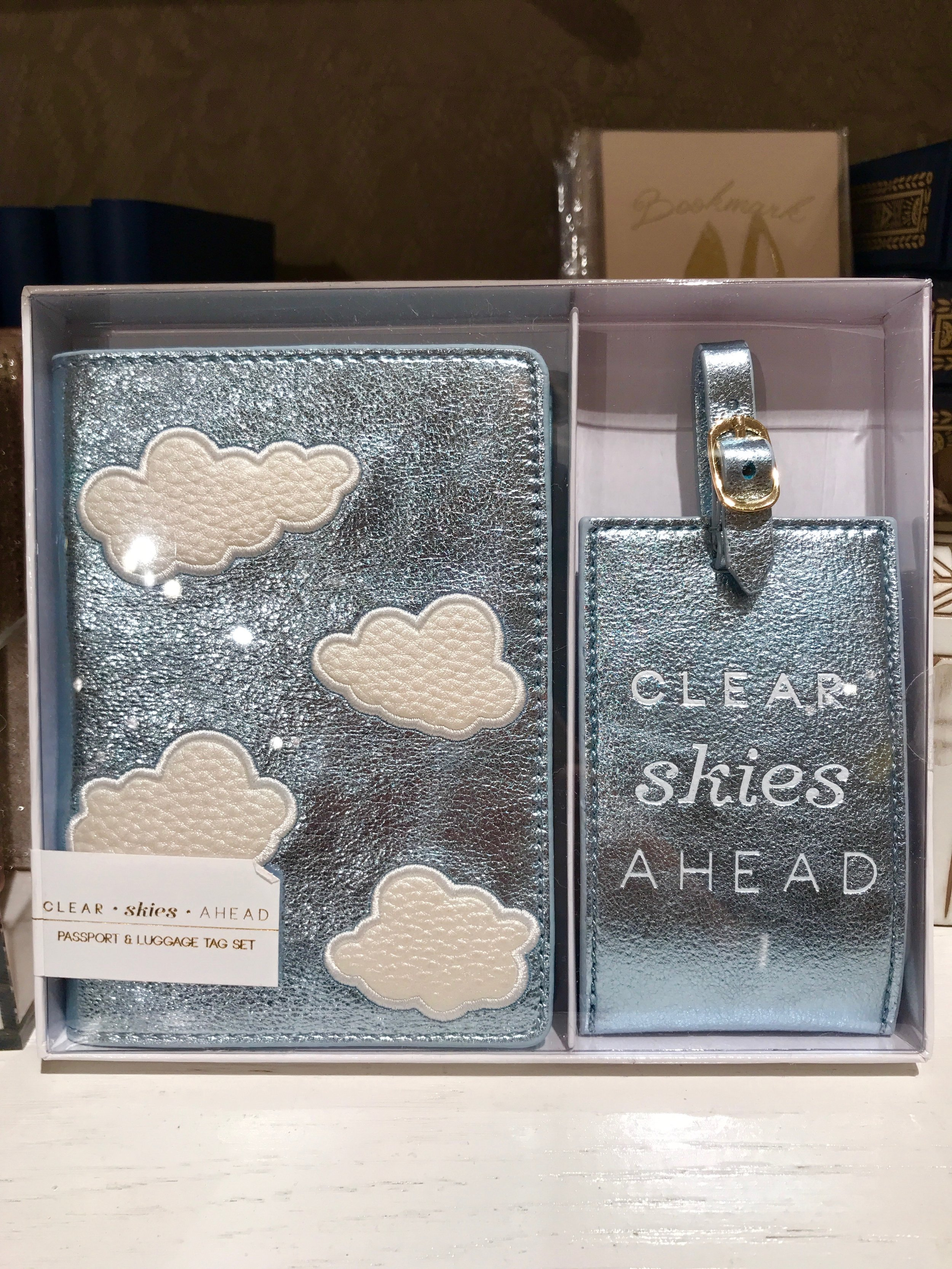 Passport Holder + Bag Tag - $40 - Store: AnthropologyIf you wanted to get a little bit more this set is super adorable. With a matching passport holder and bag tag in metallic blue is another great gift for any traveler! This would also be a great gift all by itself.