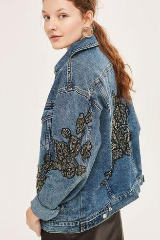 Topshop MOTO Embellished Denim Jacket, $240
