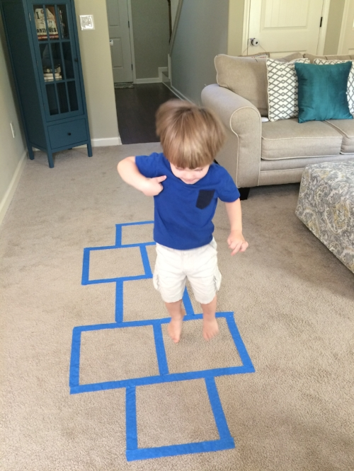 Indoor hopscotch game