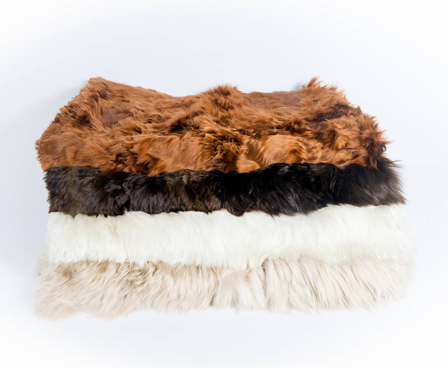 Suri fur throws, fur blankets display