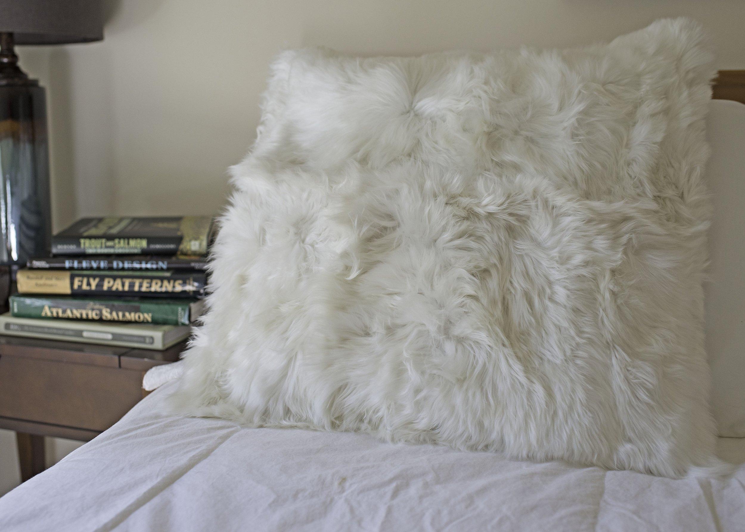 Suri Alpaca pillow, fur pillow in Pearl White
