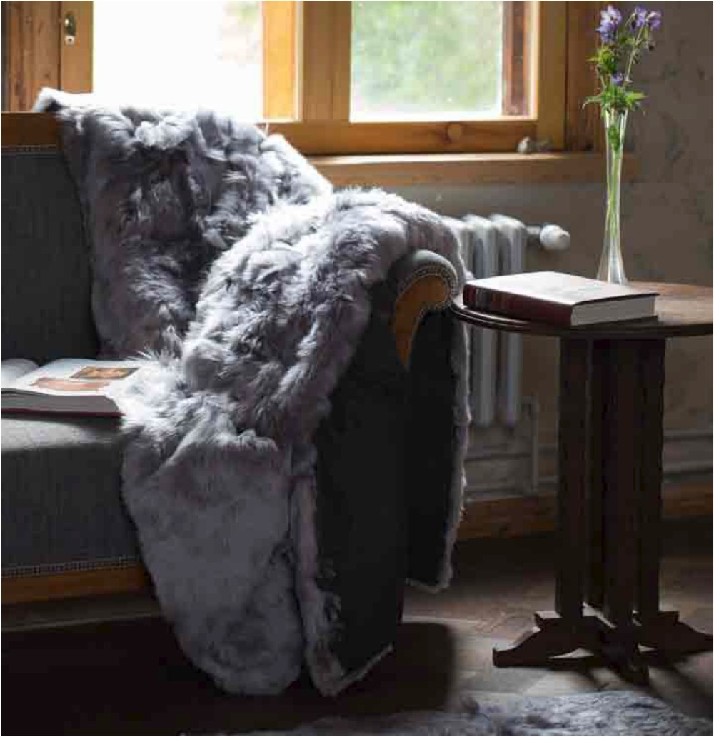 Suri Fur Throw, fur blanket in Light Gray