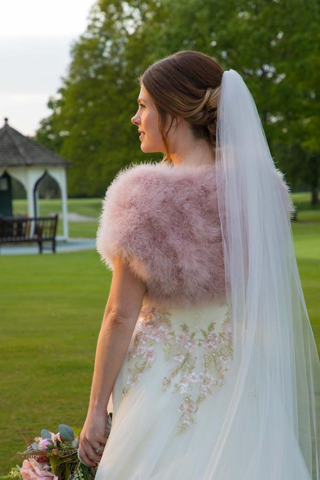 Blush Feather Bolero & Chapel Length Candy Pink Veil - Donal Wales Photography