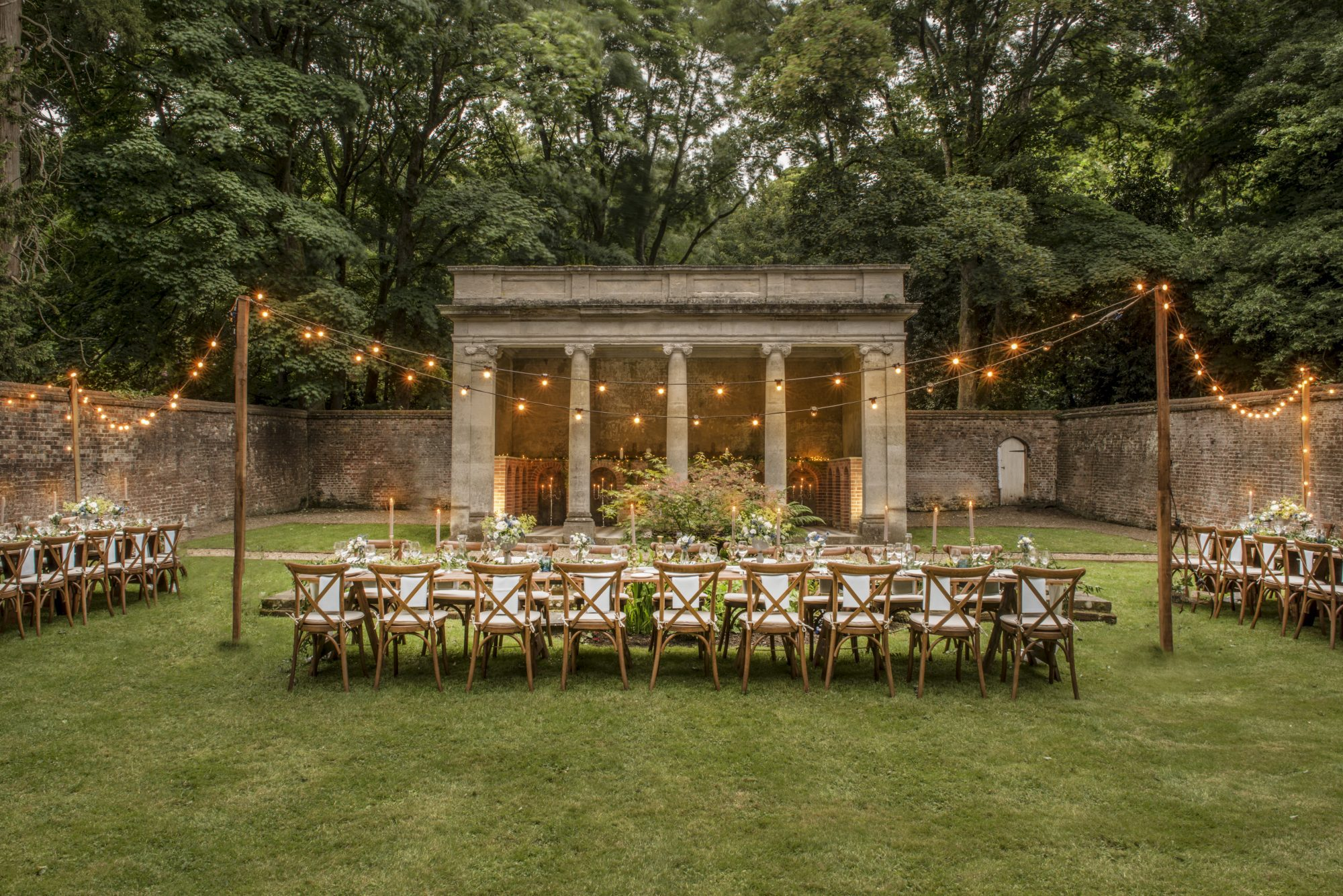 Roman Temple Outdoor Ceremony Garden at Wotton House  Photo credit 'trulyquirkyweddingvenues.com'