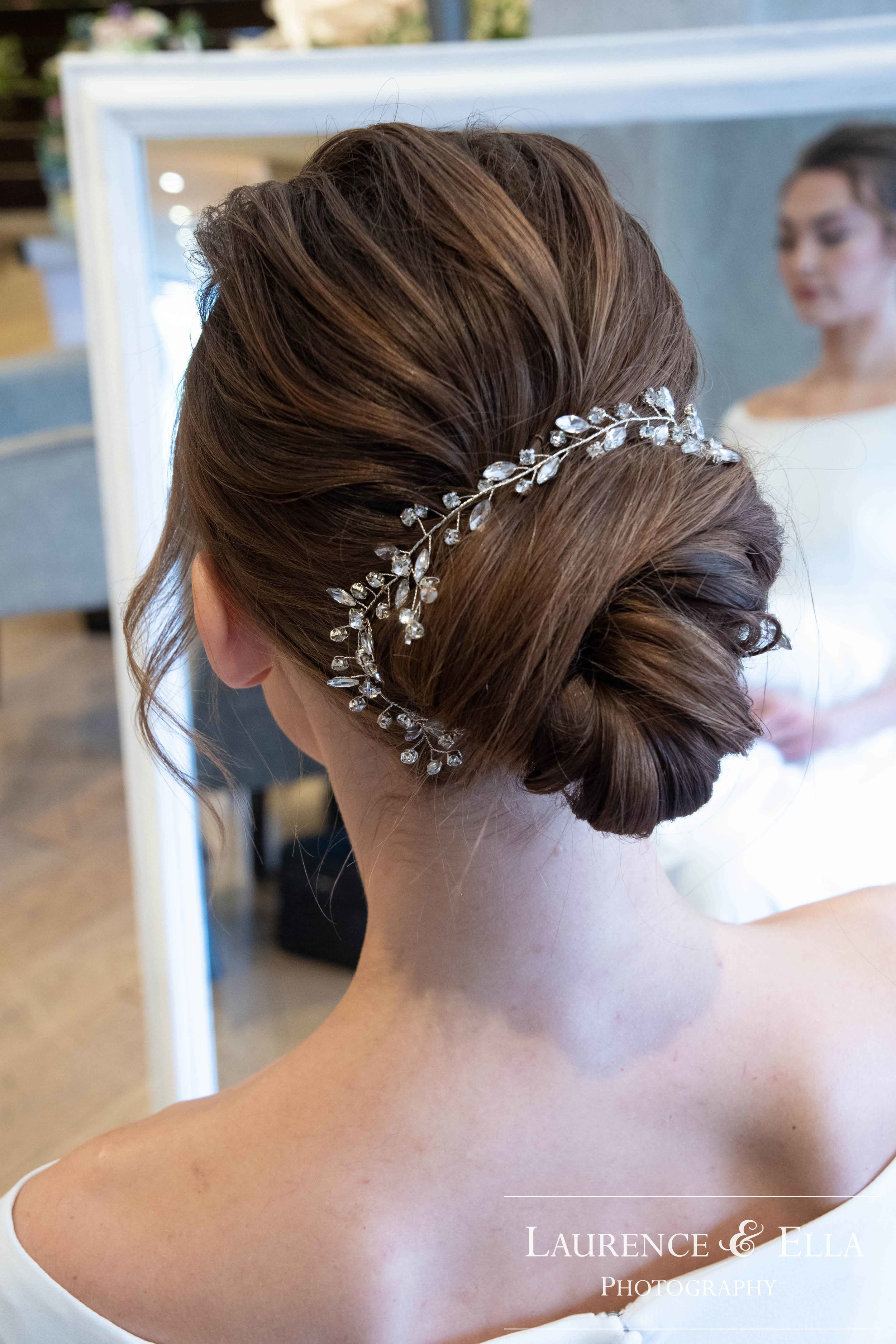 Crystal leaf hair vine with silver ribbon - Laurence & Ella Photography