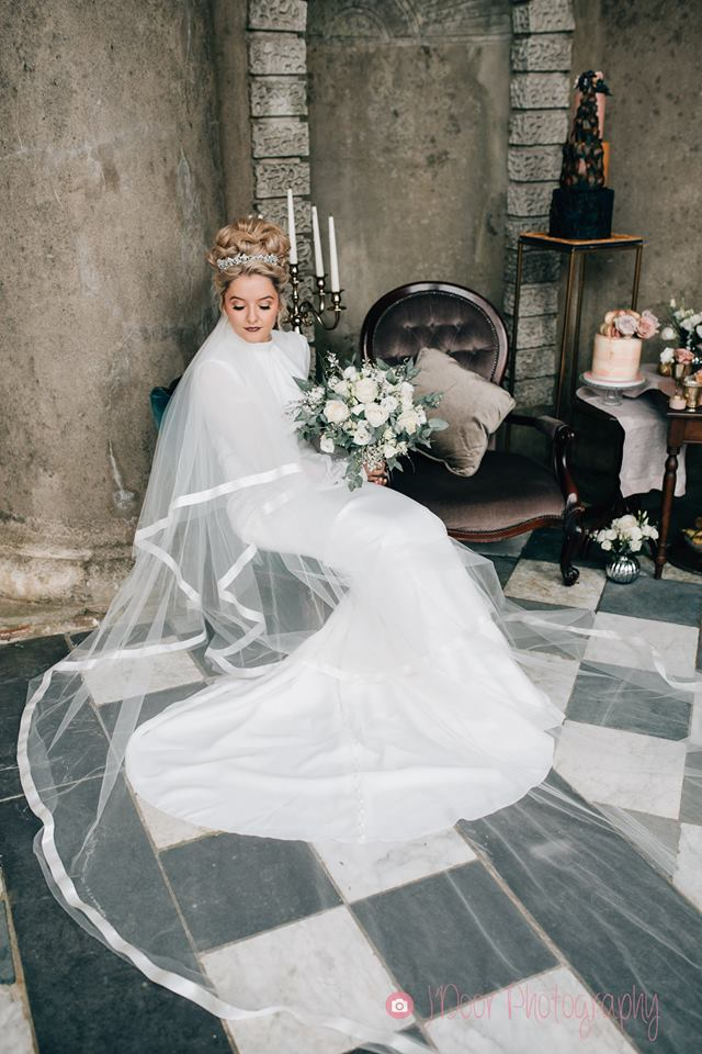 Dramatic cathedral double tier veil with wide satin edge - J'Door Photography