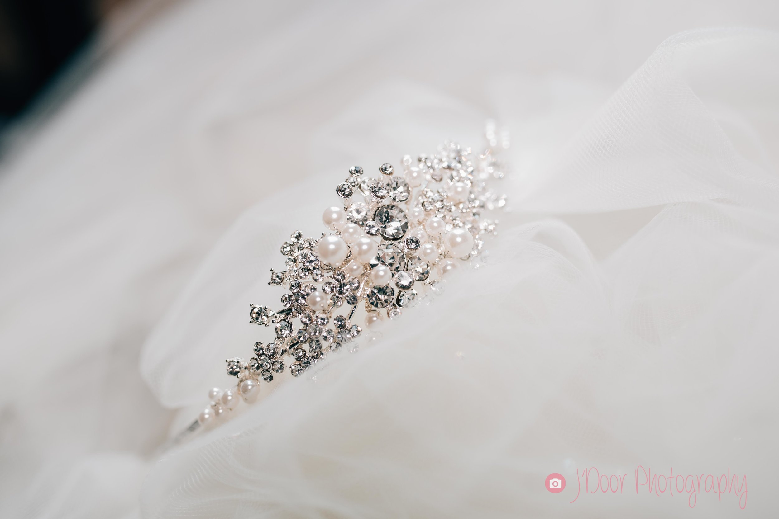 Pearl and crystal side tiara