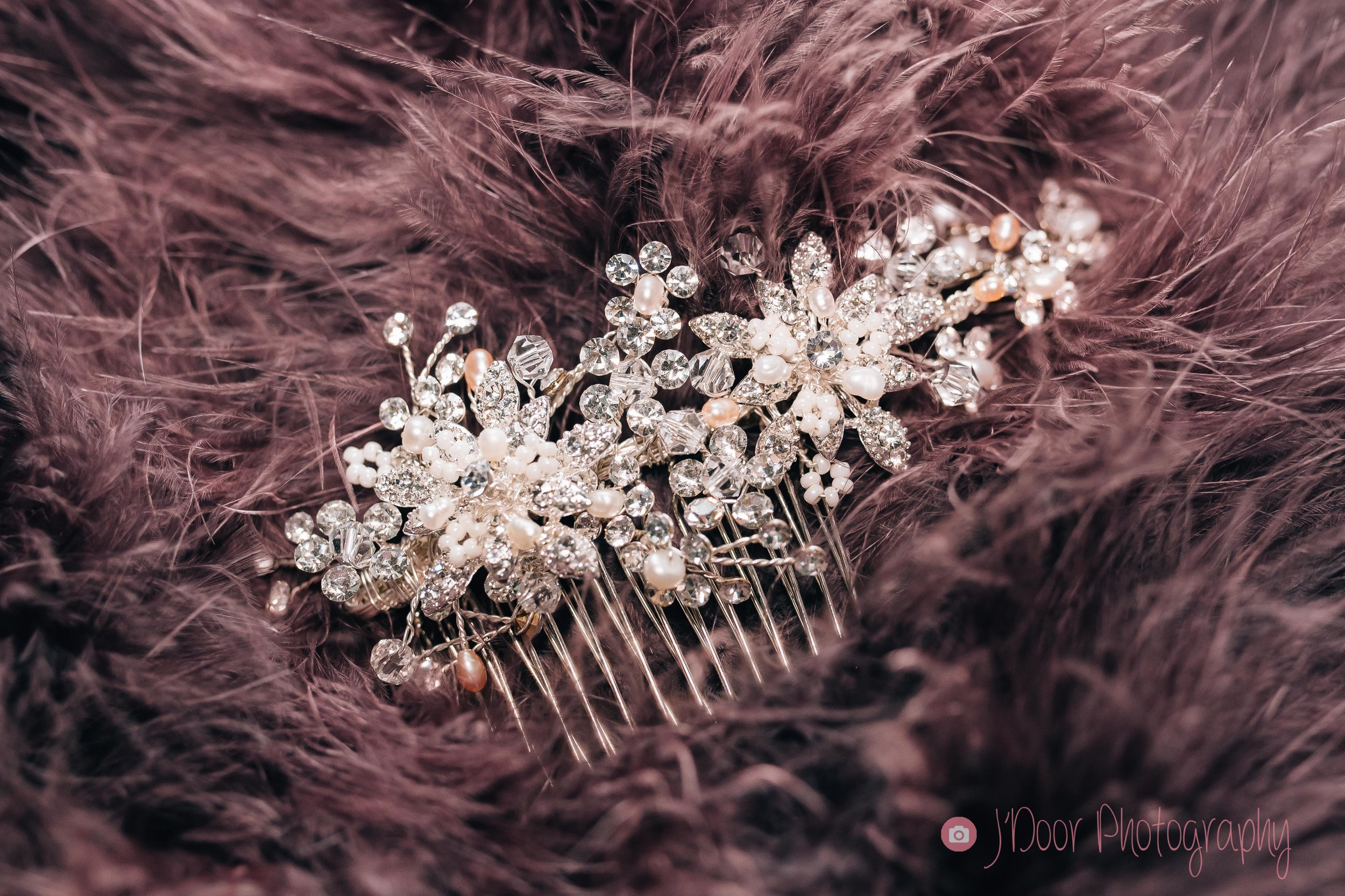 Crystal an rose gold hair comb