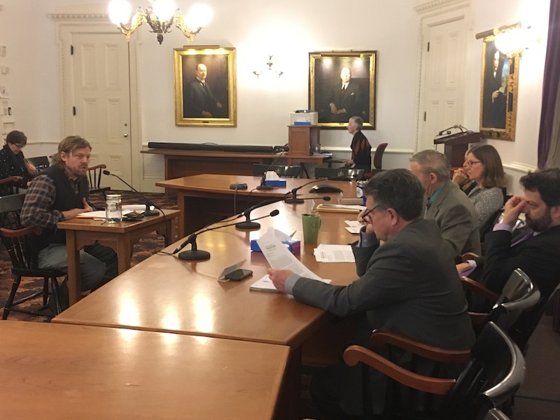 Tom Gilbert of Black Dirt Farm testifies before the Senate Agricultural Committee about poultry foraging.