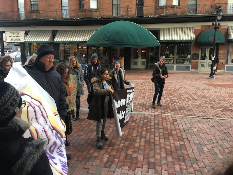 Vermonters gather to rally for an end to ICE's plan to operate boarder patrol checkpoints across Vermont.
