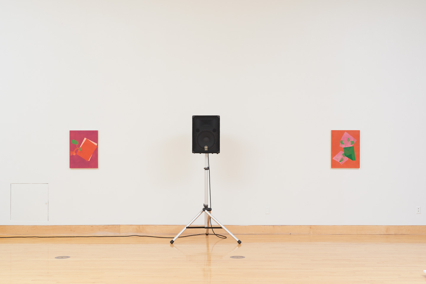 Paintings from left to right:   Something about a tree   (2018),   Rodie, Ruthie, Herself     (2018). Sound by Lucky Dragons.