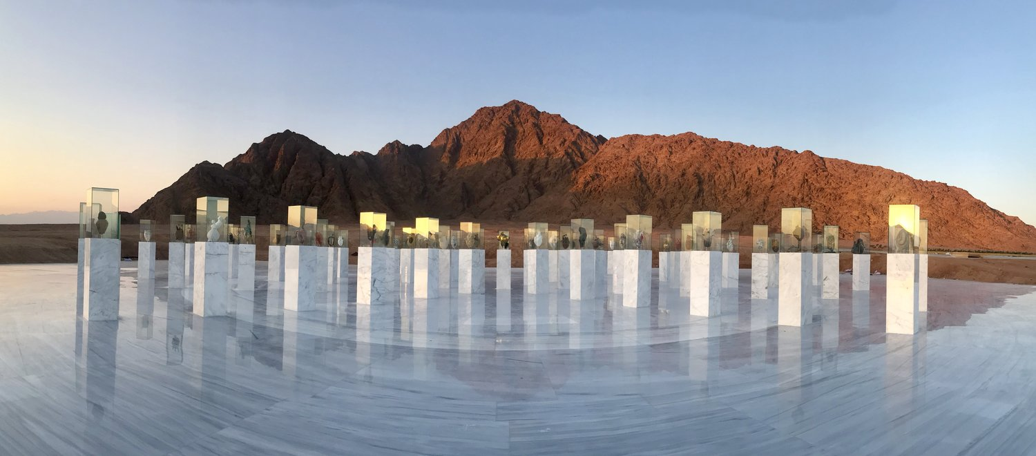 Installation view of the Reviving Humanity Memorial. Sharm El Sheikh, Egypt. Designed by Shosha Kamal.