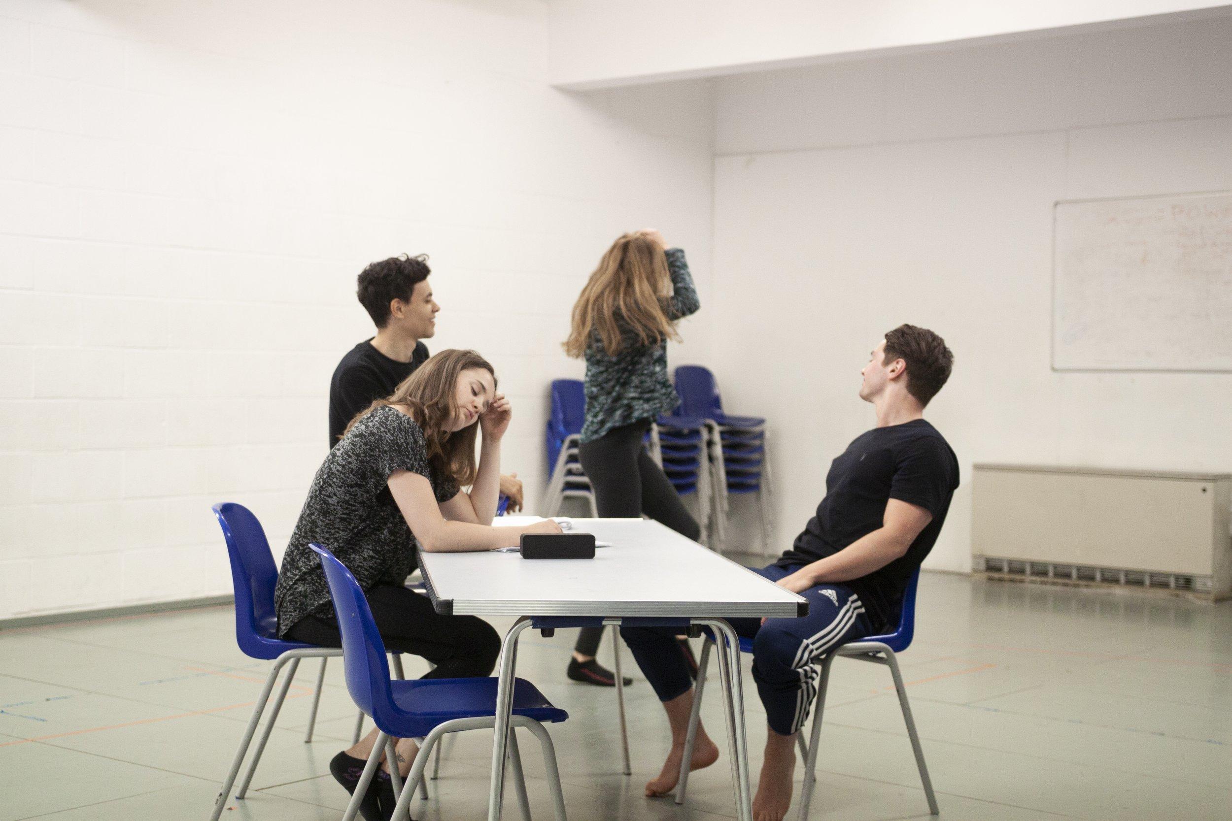 Left to right: Jennie Eggleton (Carrie), Aaron Douglas (Ollie), Kathryn Crosby (Laura), George John (Christian), rehearsal image.