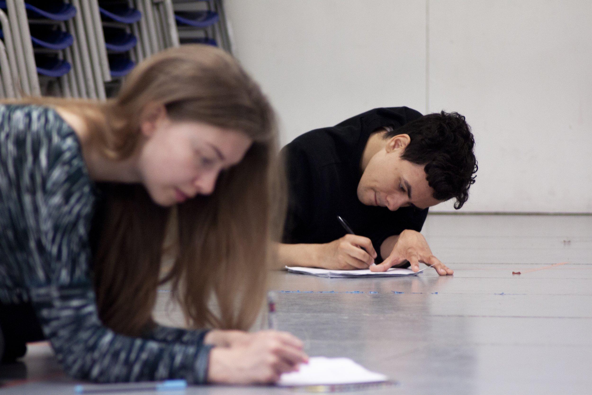 Kathryn Crosby (Laura), Aaron Douglas (Ollie), rehearsal image.